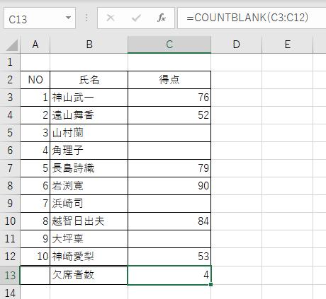 COUNTBLANK関数を使用することで空白のセルの数を数えることができた
